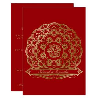 Red and Gold Mandala Indian Wedding Invitation