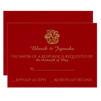 Red and Gold Mandala Indian Wedding Response Card 9 Cm X 13 Cm Invitation Card