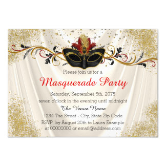 Red and Gold Masquerade Party Card