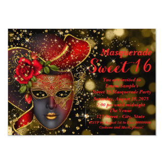 Red and Gold Masquerade Party 11 Cm X 16 Cm Invitation Card