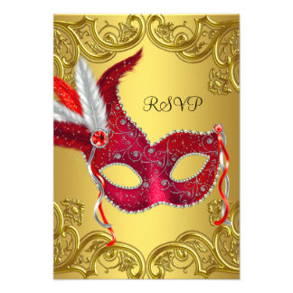Red and Gold Masquerade Party RSVP Announcements