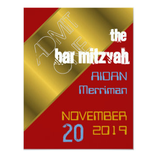 Red and gold metallic Bat Mitzvah Bar Mitzvah Card