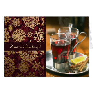 Red and Gold Snowflakes Photo Card