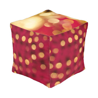 Red and Gold Sparkles Cube Cushion