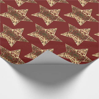Red and Gold Stars Pattern Burgundy Christmas Chic Wrapping Paper