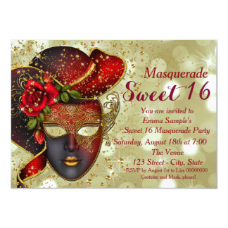 Red and Gold Sweet 16 Masquerade Party 11 Cm X 16 Cm Invitation Card