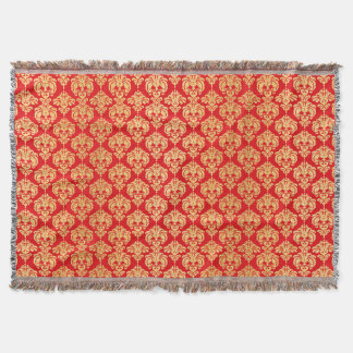 Red and Gold Vintage Damask Pattern Throw Blanket