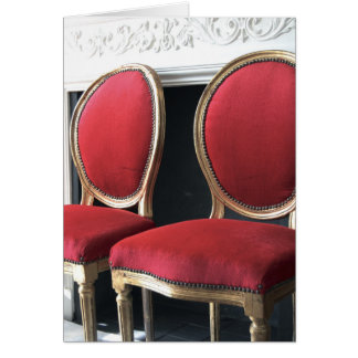 Red and gold Vintage Salon Chairs Greetings Card