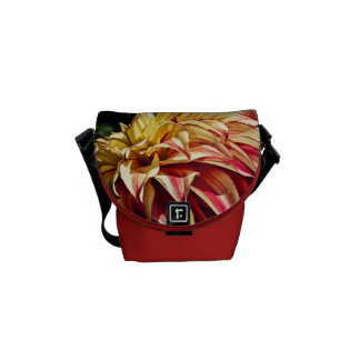 Red and Golden yellow Dahlia flower Commuter Bags