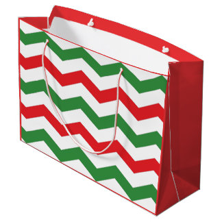 Red and Green Chevron Holiday Gift Bag