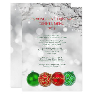 Red and Green Christmas Balls Family Dinner Menu 13 Cm X 18 Cm Invitation Card
