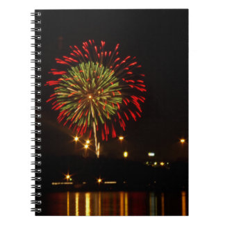 red and green fireworks explode over Mississippi Notebooks