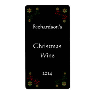 Red and Green Plaid Poinsettias Holiday Wine Label