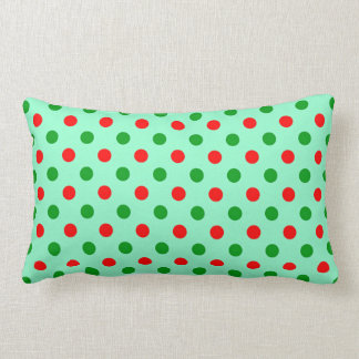 Red and Green Polka Dots Throw Pillows