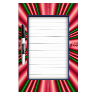 Red and Green Silk Fractal Dry Erase Whiteboard