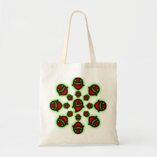 Red and Green Spooky Ghost trick or treat tote Bags