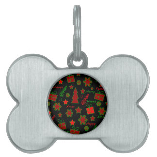 Red and green Xmas pattern Pet Name Tags
