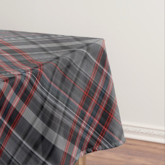 Red and grey tartan tablecloth