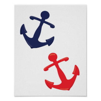 Red and Navy Anchors Poster