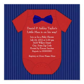 Red and Navy Blue Pinstripe Little Man Baby Shower Card