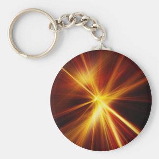 Red and Orange Laser Starburst Basic Round Button Key Ring