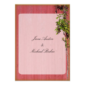 Red And Pink And Ivy Warm Gold Wedding Invitation