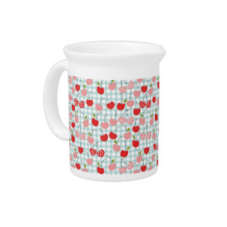 Red and Pink Cherries Beverage Pitcher