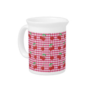 Red and Pink Cherries Pitcher
