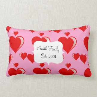 Red and Pink Hearts Valentine's Day Pattern Throw Cushions