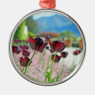 Red and Pink Tulip Blossoms Christmas Ornament