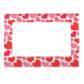 Red and Pink Valentine's Day Hearts for Love Photo Frame Magnet
