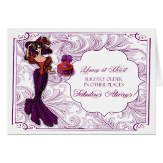 Red and Purple Lady in Hat Birthday Card