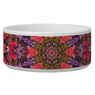 Red and Purple Tulip Mandala Fractal Pet Food Bowl