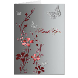 Red and Silver Butterflies Thank You Card