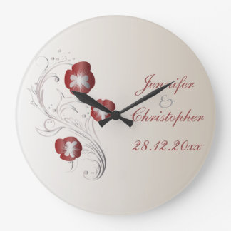 Red and Silver Pansy Wedding Memento Large Clock