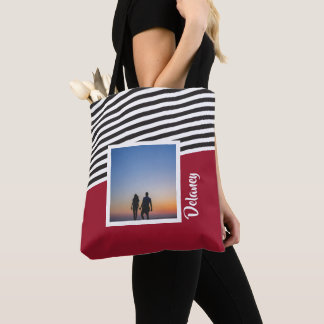 Red and Striped Pattern Personalised Photo Tote Bag