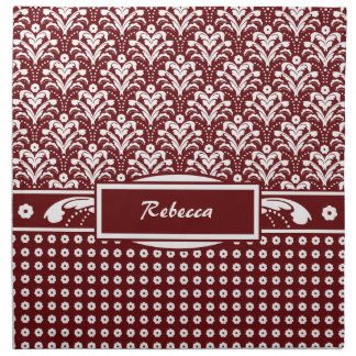 Red and White Art Deco Damask with Your Name Napkin