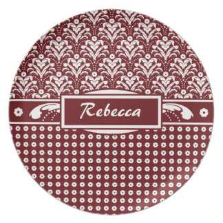 Red and White Art Deco Damask with Your Name Dinner Plate