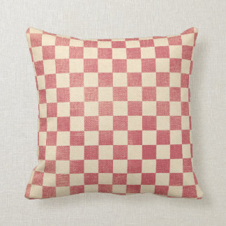 Red and White Checkerboard Country Prim Distressed Cushion