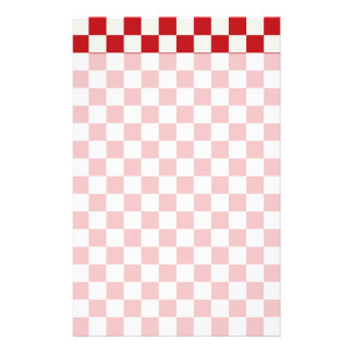 Red and White Checkered Pattern Country BBQ Colors Stationery