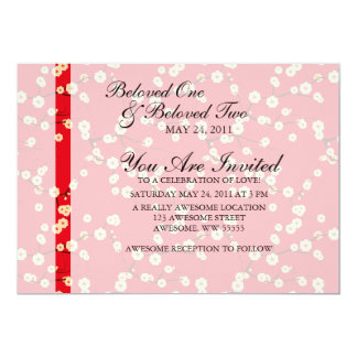 Red and White Cherry Blossoms 13 Cm X 18 Cm Invitation Card