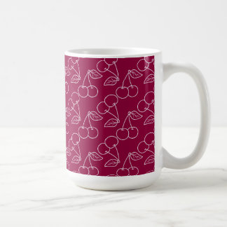 Red and White Cherry Outline Print Coffee Mug