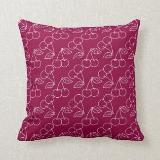 Red and White Cherry Outline Print Throw Cushion