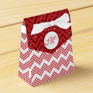 Red And White Chevron Wedding Favor Monogram Gift Party Favour Boxes
