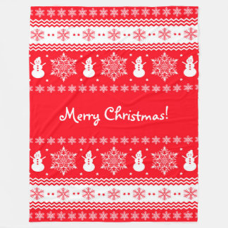 Red and White Christmas Fleece Blanket