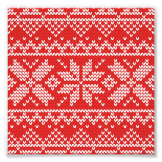 Red and White Christmas Knitted Pattern Photo Print