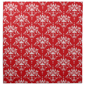 Red and White Christmas Vintage Damask Napkin