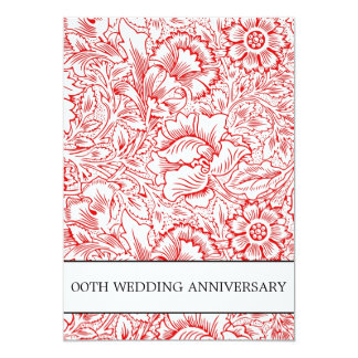 red and white damask anniversary invitations