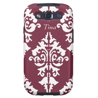 Red and White Damask Cell Phone Case Samsung Galaxy S3 Case