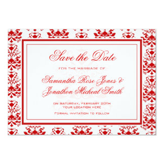 Red and White Damask Elegant Save the Date Card